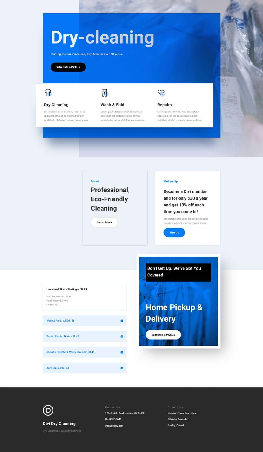 ejemplo de página web para una lavandería con WordPress y Divi