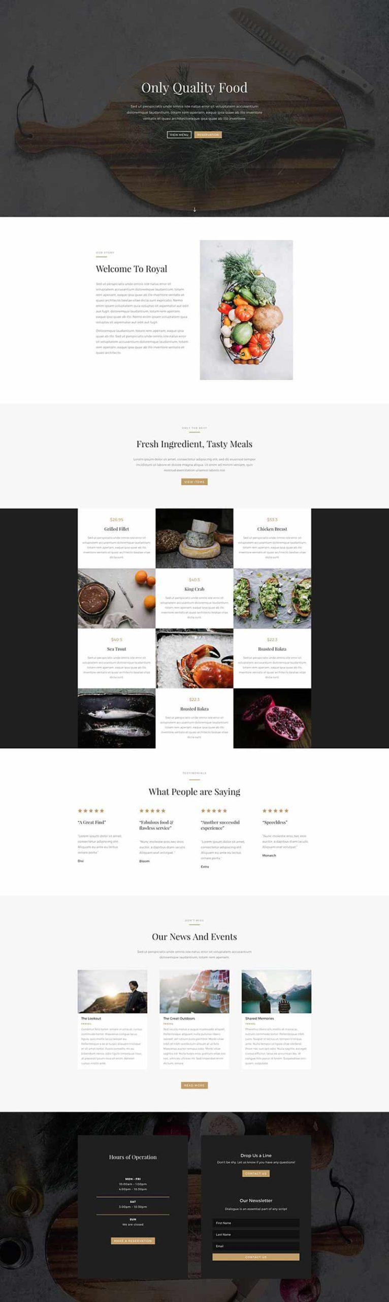 ejemplo de página web para un restaurante con WordPress y Divi